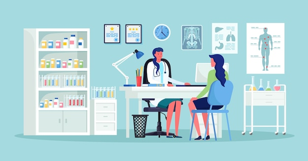 Doctor and patient at desk in hospital office. clinic visit for exam, meeting with physician, conversation with medic about diagnosis results