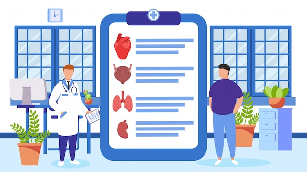 Doctor and patient at health checkup  illustration. clipboard with list of internal organs to diagnosis.