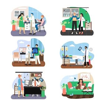 Doctor and patient, male, female cartoon character set