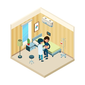 Doctor and patient. medic standing near bed of patient in hospital treatment health isometric concept