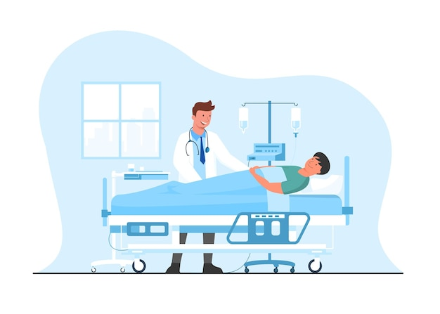 Concetto medico medico e paziente. paziente ricoverato sdraiato nel letto d'ospedale