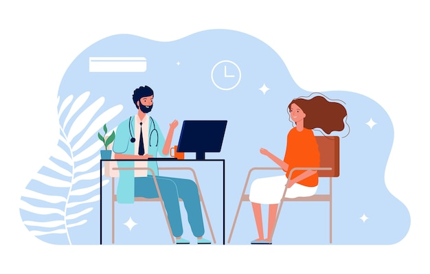 Doctor and patient. physician medical consultation, clinic office. diagnosis treatment patients and healthcare illustration. medical diagnosis and consultation, healthcare office physician
