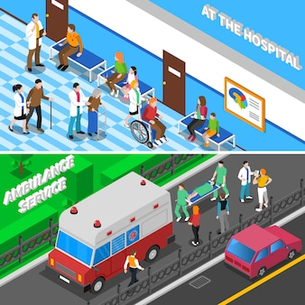 Doctor patient relationship isometric banners