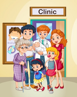 Doctor and patients at clinic