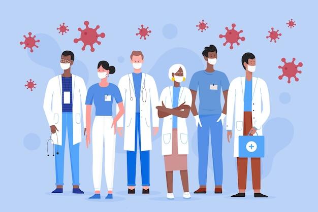 Команда врачей люди медиков в медицинских масках