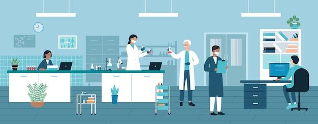 의사 사람들이 실험실 테스트 튜브와 의료 실험실에서 작동