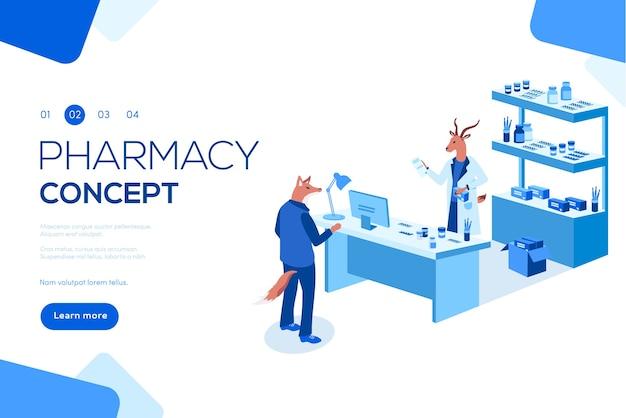 Врач фармацевт и пациент в аптеке. можно использовать для веб-баннера, инфографики, заголовка.