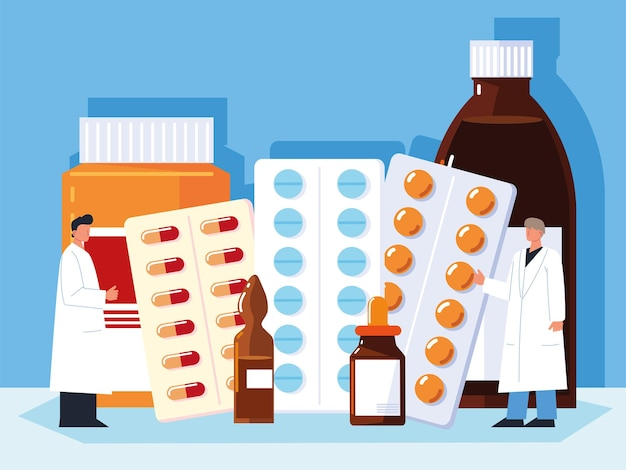 약 디자인을 선택 하는 의사 약사