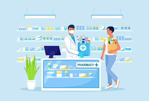 Doctor pharmacist consulting patient in pharmacy store. man in drugstore with paper bag with medicines, drugs, pills and bottles inside. pharmaceutical industry. customer standing near cashier desk