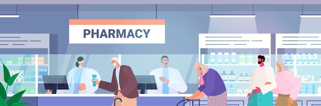 Doctor pharmacist giving pills to customers patients at pharmacy counter modern drugstore interior medicine