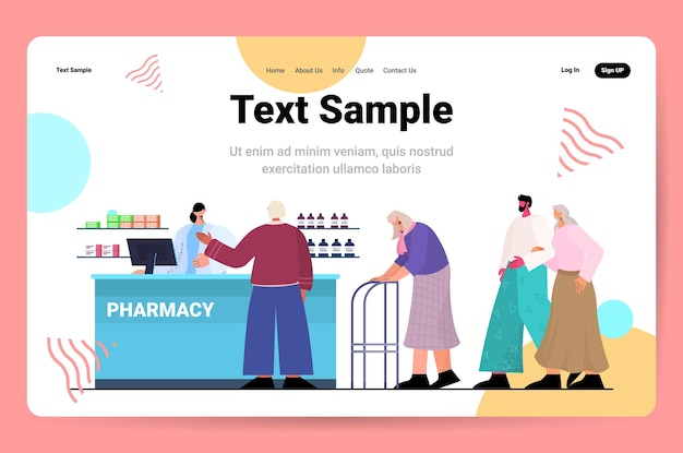 Doctor pharmacist giving pills to customers patients at pharmacy counter in modern drugstore medicine healthcare concept horizontal full length copy space vector illustration