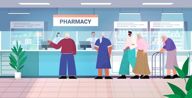 약국 카운터 현대 약국 인테리어 약에서 고객 환자에게 약을 제공하는 의사 약사