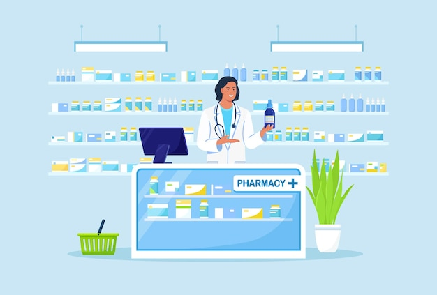 Doctor pharmacist standing at cashier desk and holding medicament in hand. near shelves with pills and bottles. drugstore interior. purchases in pharmacy store