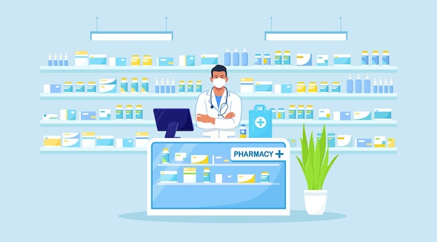 Doctor pharmacist standing behind the counter in the pharmacy. drugstore interior. pharmaceutical industry