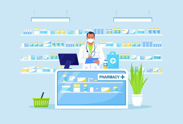 Doctor pharmacist standing behind the counter in the pharmacy.