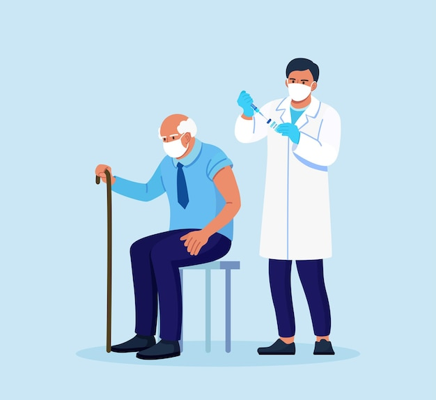 Doctor, physician giving a coronavirus vaccine to elderly man. old people vaccination for immunity health for covid-19. immunization of adults