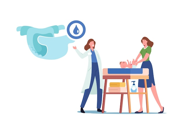 Doctor presenting nappy to mother changing diaper to newborn kid on table. young female character taking care of infant baby. parent routine and motherhood concept. cartoon people vector illustration