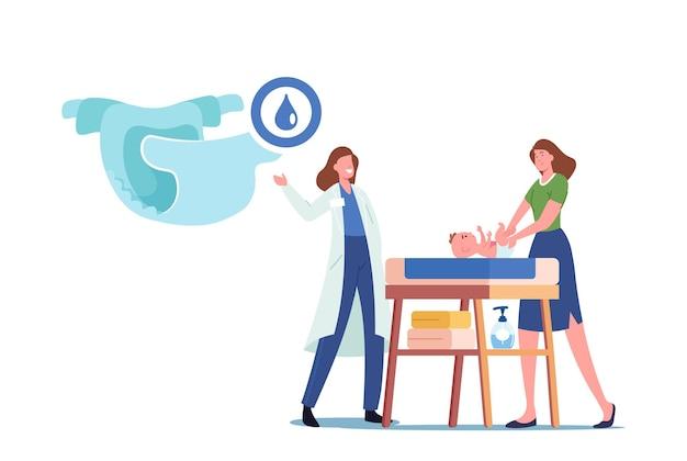 Доктор, представляя подгузник матери, меняя подгузник новорожденному на столе. молодой женский персонаж заботится о младенце. родительский распорядок и концепция материнства. мультфильм люди векторные иллюстрации