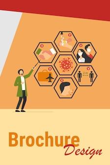 코로나 바이러스로부터 보호하고 전염병 확산 방지를위한 팁을 제시하는 의사. covid 19, 증상, 보호, 안전, 감염 개념에 대한 벡터 일러스트 레이션