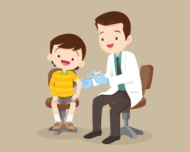 Doctor preventive vaccination for children boy.