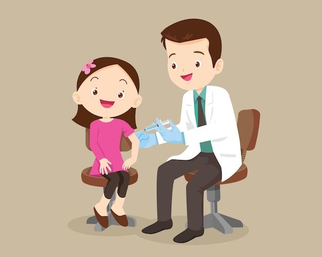 Doctor preventive vaccination for children girl.