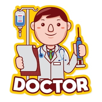 Doctor profession mascot logo vector in cartoon style