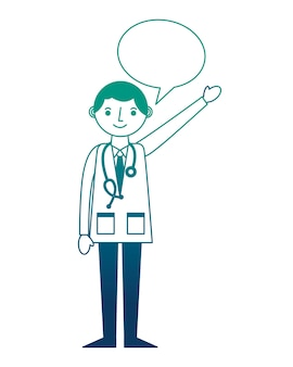 Doctor professional with stethoscope in coat speech bubble
