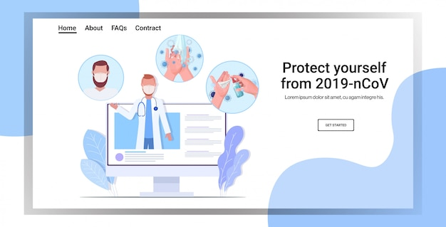 Doctor in protective mask giving basic protective measures against coronavirus online consultation