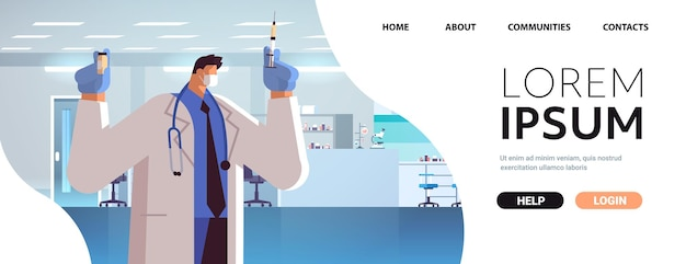 Doctor in protective mask holding syringe and bottle vial coronavirus vaccine development fight against covid-19 vaccination concept horizontal portrait copy space vector illustration