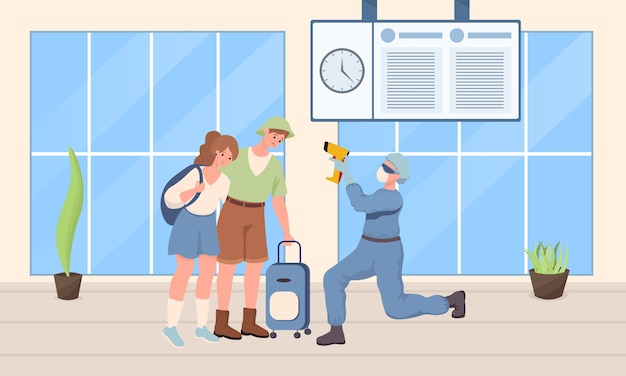 Doctor in protective suit checking temperature of travelers   illustration.
