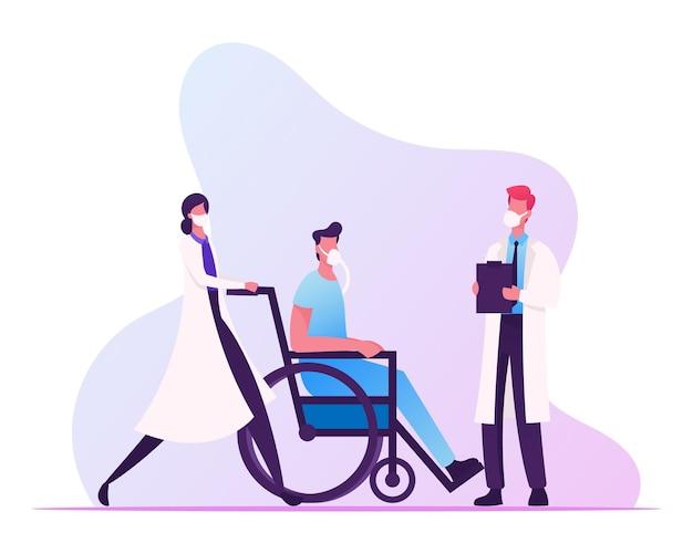 얼굴 마스크를 쓰고 아픈 남자와 의사 푸시 휠체어. 코로나 바이러스 cov 유행성 건강 및 의학 개념.