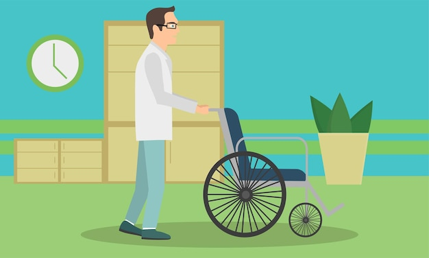 Doctor pushing an empty wheelchair. full length of cheerful doctor standing near wheelchair. young doctor with wheelchair. vector flat design illustration
