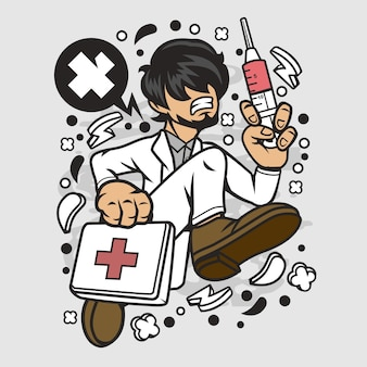 Doctor running cartoon