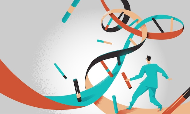 Doctor running inside dna helix