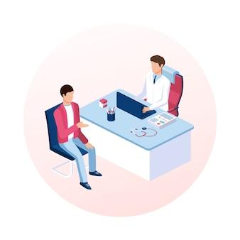 医師の予定の概念。患者の受付。ベクトルアイソメ図。
