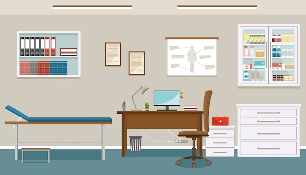 Кабинет врача в клинике медицины. пустой медицинский кабинет дизайн интерьера. больница работает в сфере здравоохранения концепции.