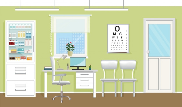 Интерьер кабинета врача в клинике. пустой медицинский кабинет дизайн. больница работает в сфере здравоохранения концепции. векторная иллюстрация