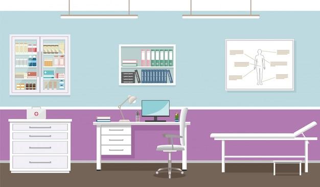 Интерьер кабинета врача в клинике. пустой медицинский кабинет дизайн. больница работает в сфере здравоохранения. иллюстрации.