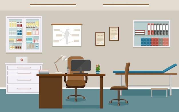 Интерьер кабинета врача в клинике. пустой медицинский кабинет дизайн. больница работает в сфере здравоохранения.