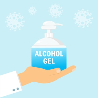Doctor's hand holding alcohol gel or hand sanitizer bottle icon, washing gel. waterless hand cleaner protect coronavirus or covid-19