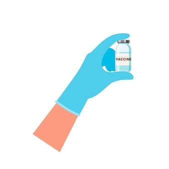 백신이 든 약병을 들고 있는 의사의 손. 예방 접종 개념입니다. 벡터 일러스트 레이 션