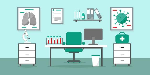 医師のテーブルと医療機器を備えたクリニックまたは病院の医師のオフィス。ウイルス検査研究所。医療インテリアイラスト。