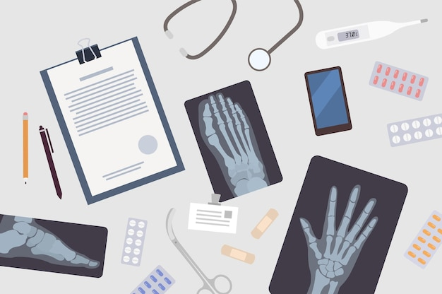 의사 또는 외과 의사의 테이블