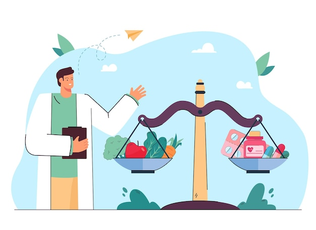 Doctor next to scales with pills and vegetables. balance between healthy food and vitamins flat illustration