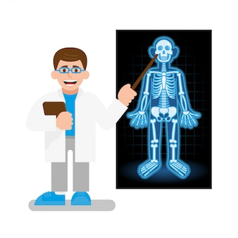 Doctor a scientist teacher show on x-ray photo with model skeleton with different bones and skull.