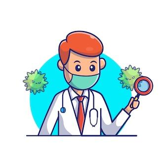 ウイルスアイコンイラストを検索する医師。コロナマスコットの漫画のキャラクター。分離された人アイコンコンセプトホワイト