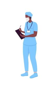 Доктор полу плоский цветной векторный характер. больница-интерн. стоящая фигура. человек всего тела на белом. медицина изолировала современный мультяшный стиль иллюстрации для графического дизайна и анимации