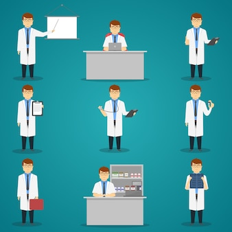 Doctor set of characters with medical objects for therapy or examination isolated