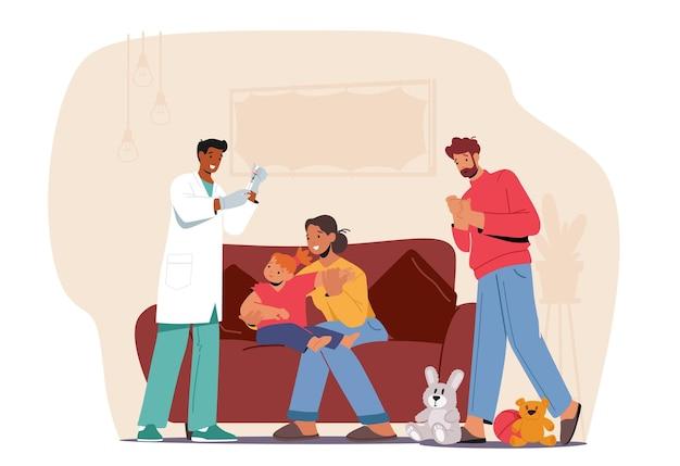 医者は小さな子供にワクチンを撃ちます。家庭の小児科医、専門の新生児科医の医療任命、治療によって検査された家族の性格のママと赤ちゃん。漫画の人々のベクトル図