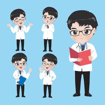 의사는 작업복에 다양한 제스처와 행동을 보여줍니다.